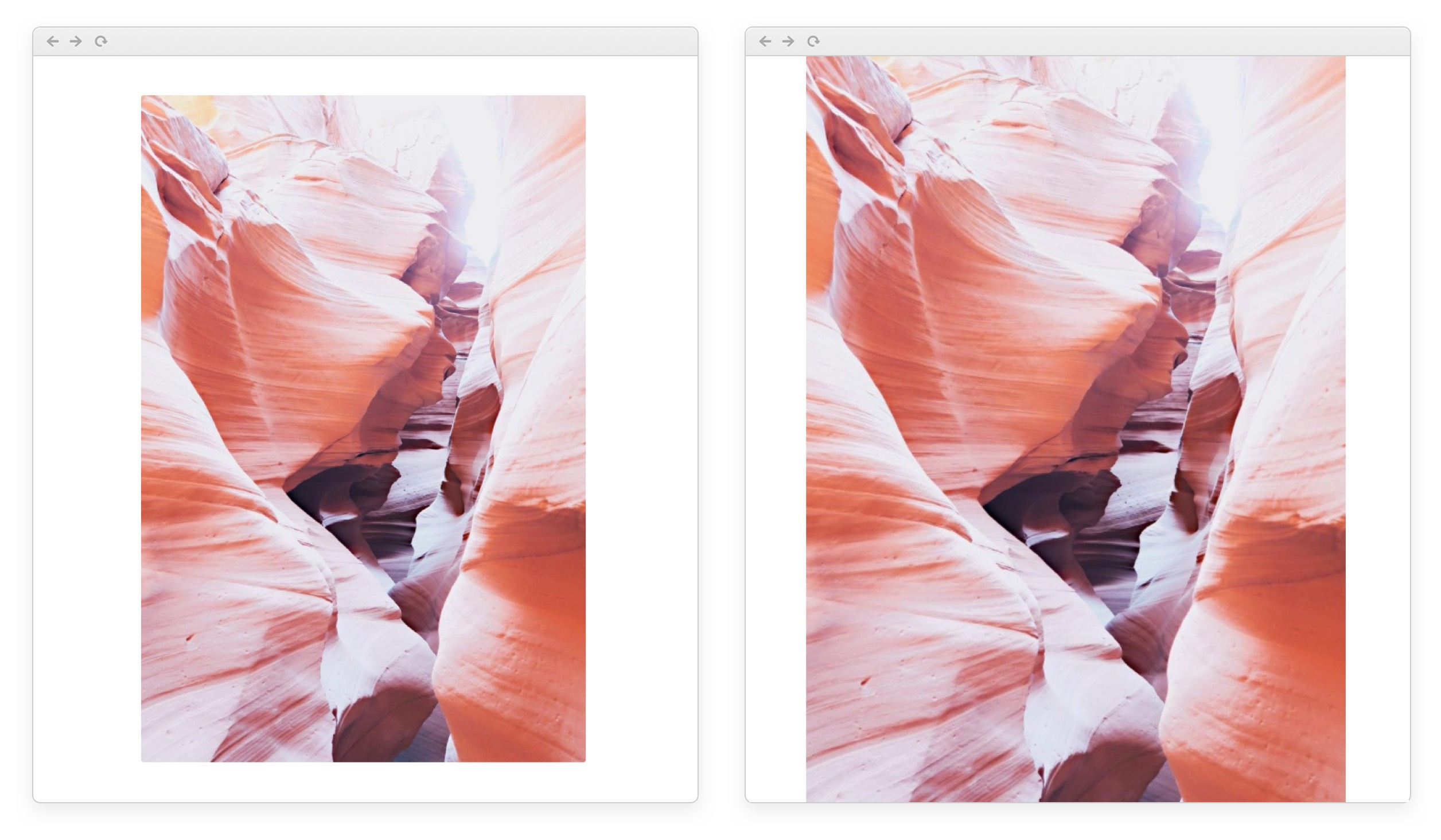 Left: with the new design, photos always fit in your view. Right: before, tall photos could exceed the height of the page