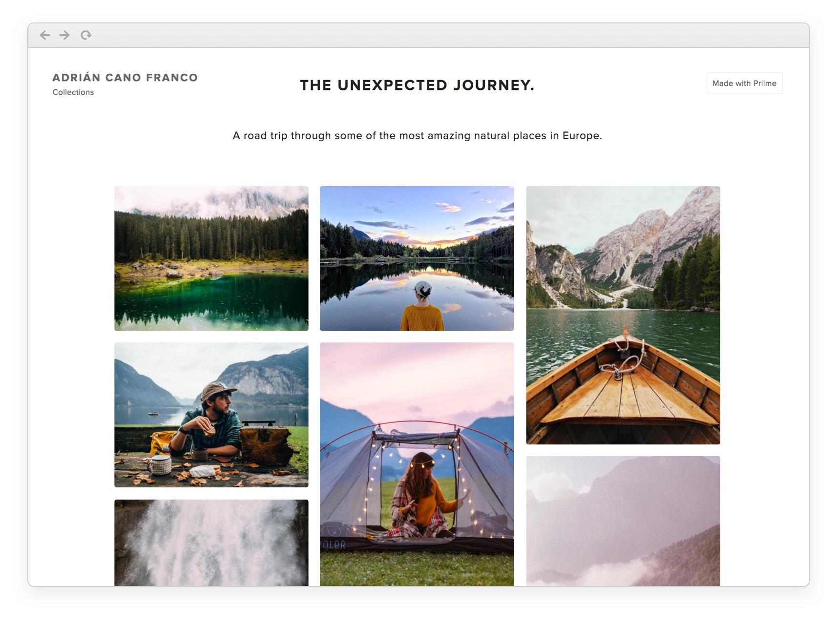 Priime Collections layout with 9 or more photos